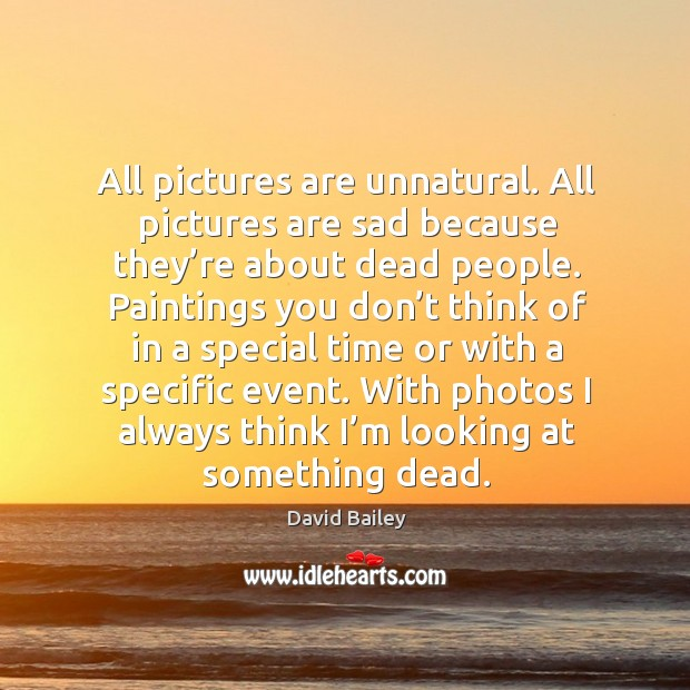 All pictures are unnatural. All pictures are sad because they're about dead people. Image