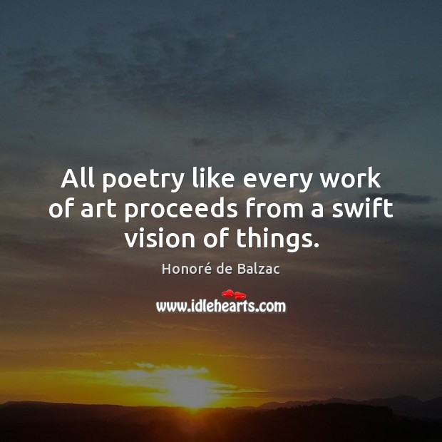 Image, All poetry like every work of art proceeds from a swift vision of things.