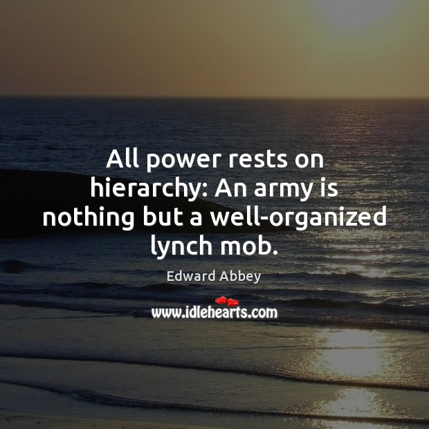 All power rests on hierarchy: An army is nothing but a well-organized lynch mob. Edward Abbey Picture Quote