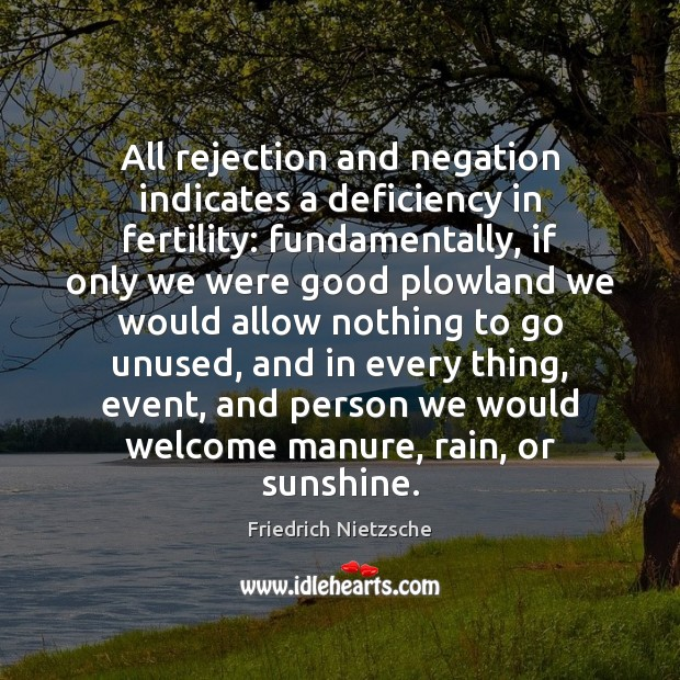 Image, All rejection and negation indicates a deficiency in fertility: fundamentally, if only