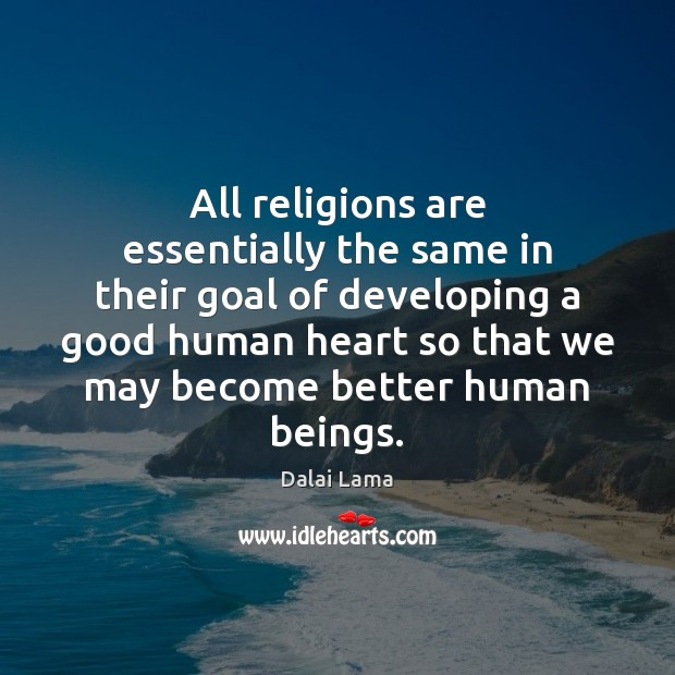 All religions are essentially the same in their goal of developing a Image