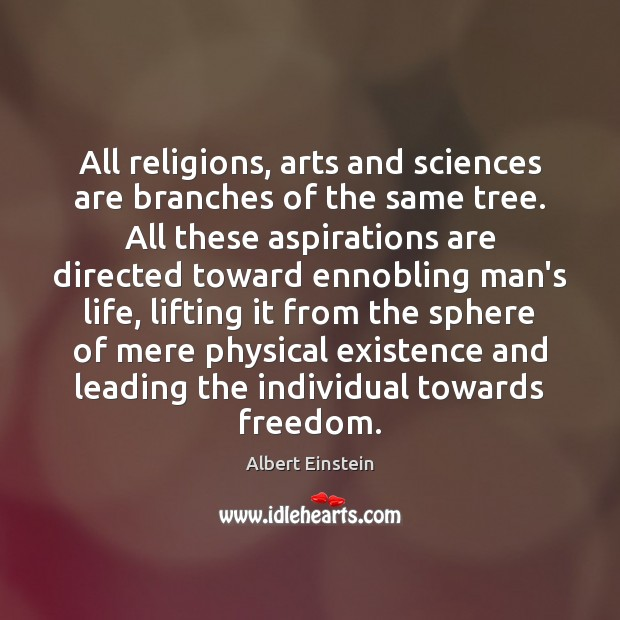 Image, All religions, arts and sciences are branches of the same tree. All