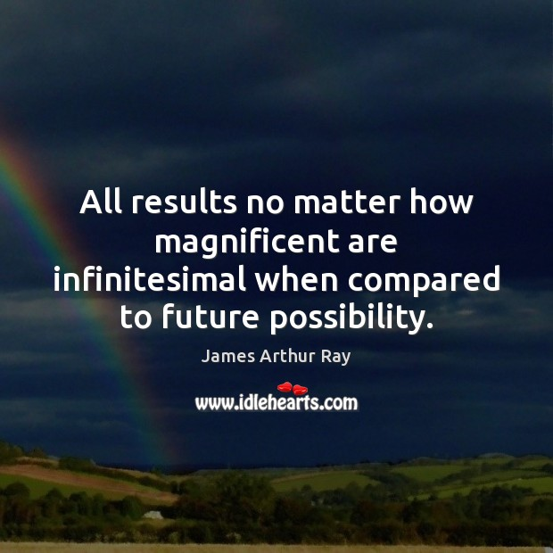 All results no matter how magnificent are infinitesimal when compared to future Image