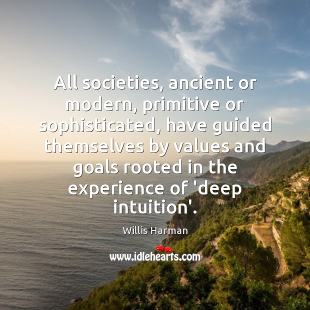 All societies, ancient or modern, primitive or sophisticated, have guided themselves by Image