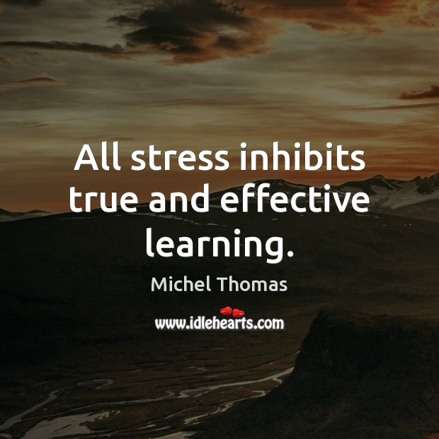 All stress inhibits true and effective learning. Image