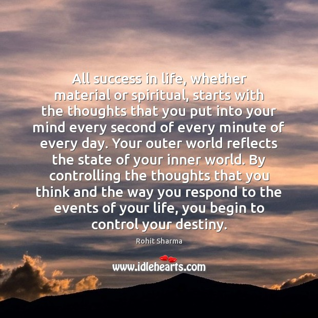 Image, All success in life, whether material or spiritual, starts with the thoughts