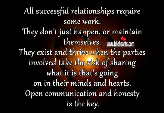 All successful relationships require some work. Honesty Quotes Image