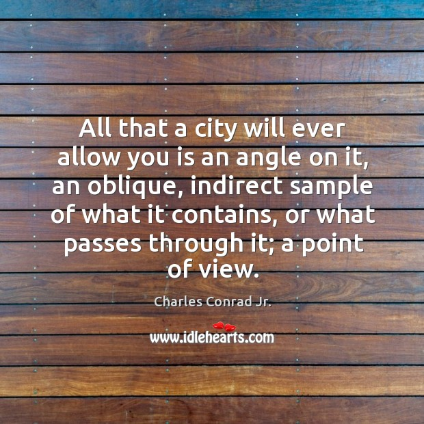 All that a city will ever allow you is an angle on it, an oblique, indirect sample of Image