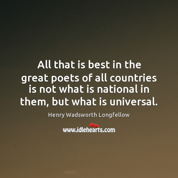 All that is best in the great poets of all countries is Henry Wadsworth Longfellow Picture Quote