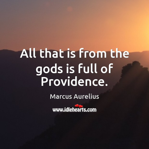 All that is from the Gods is full of Providence. Marcus Aurelius Picture Quote