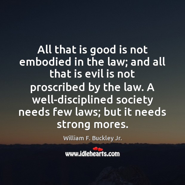 All that is good is not embodied in the law; and all William F. Buckley Jr. Picture Quote