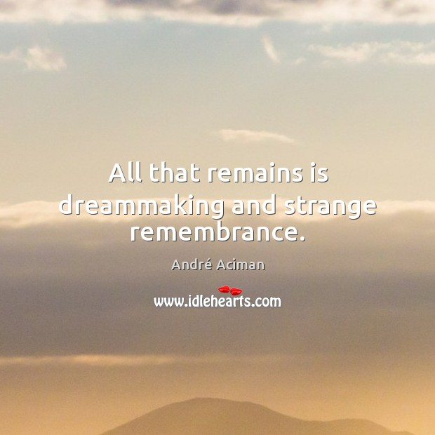 Image, All that remains is dreammaking and strange remembrance.