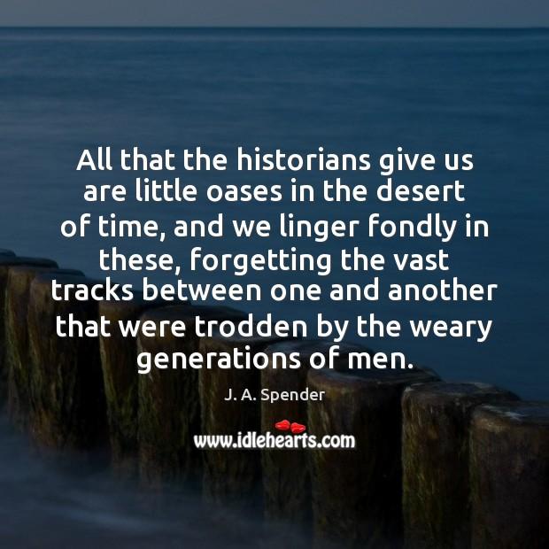 All that the historians give us are little oases in the desert Image