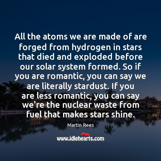 All the atoms we are made of are forged from hydrogen in Martin Rees Picture Quote