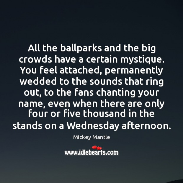 All the ballparks and the big crowds have a certain mystique. You Mickey Mantle Picture Quote