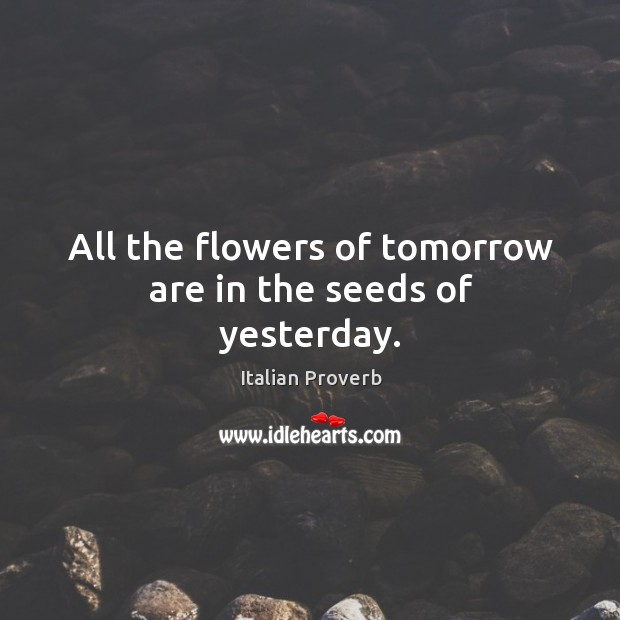 Image, All the flowers of tomorrow are in the seeds of yesterday.