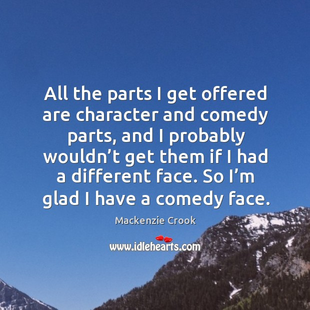 All the parts I get offered are character and comedy parts, and I probably wouldn't Image