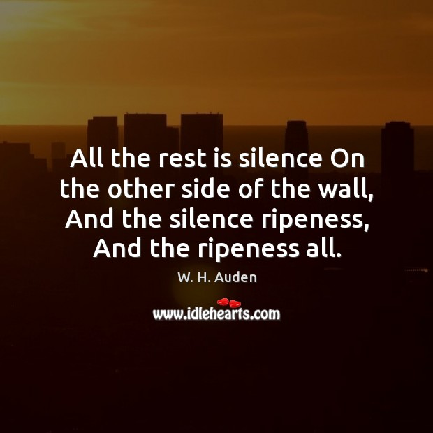 All the rest is silence On the other side of the wall, Image