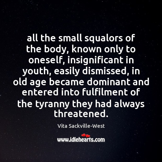 All the small squalors of the body, known only to oneself, insignificant Vita Sackville-West Picture Quote