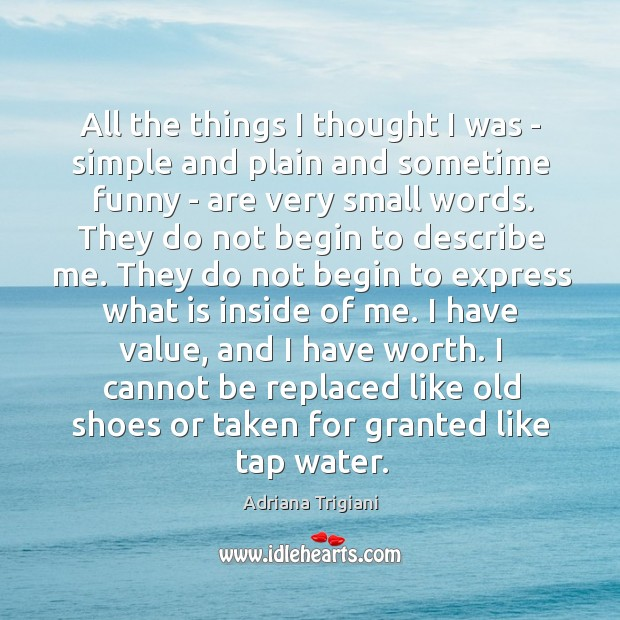 All the things I thought I was – simple and plain and Adriana Trigiani Picture Quote
