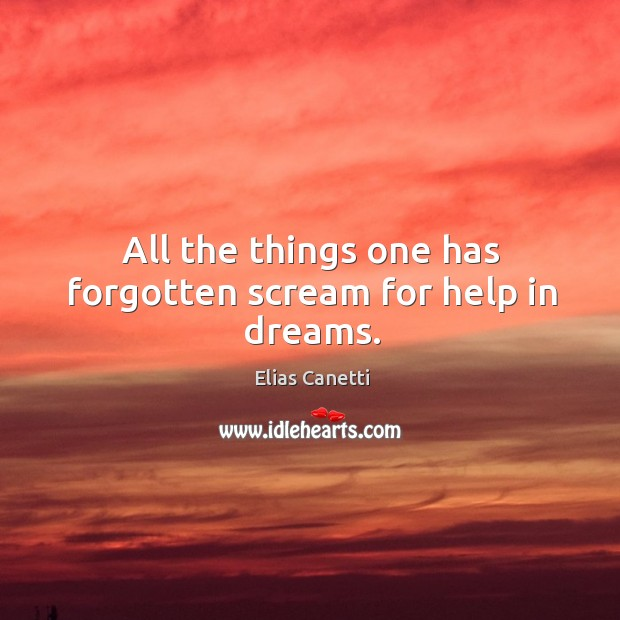 All the things one has forgotten scream for help in dreams. Image
