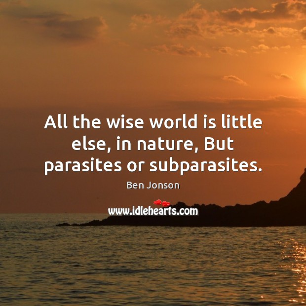 All the wise world is little else, in nature, But parasites or subparasites. Image