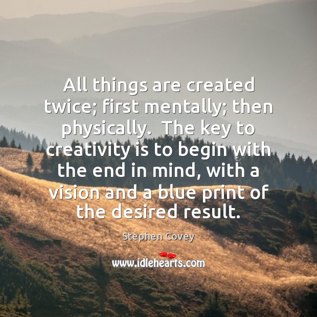 All things are created twice; first mentally; then physically.  The key to Image