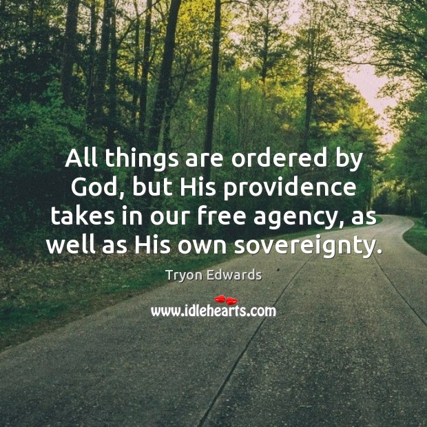 All things are ordered by God, but His providence takes in our Tryon Edwards Picture Quote