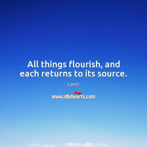All things flourish, and each returns to its source. Laozi Picture Quote