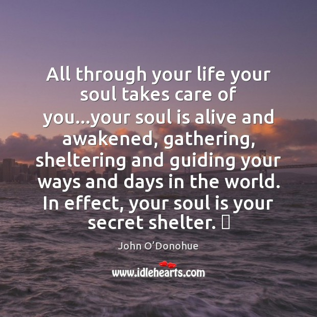 All through your life your soul takes care of you…your soul John O'Donohue Picture Quote