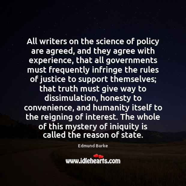 Image, All writers on the science of policy are agreed, and they agree