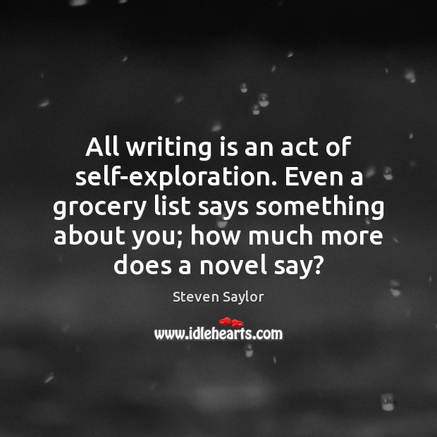 Image, All writing is an act of self-exploration. Even a grocery list says