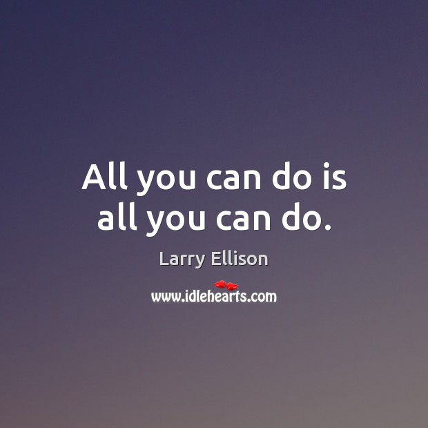 All you can do is all you can do. Larry Ellison Picture Quote