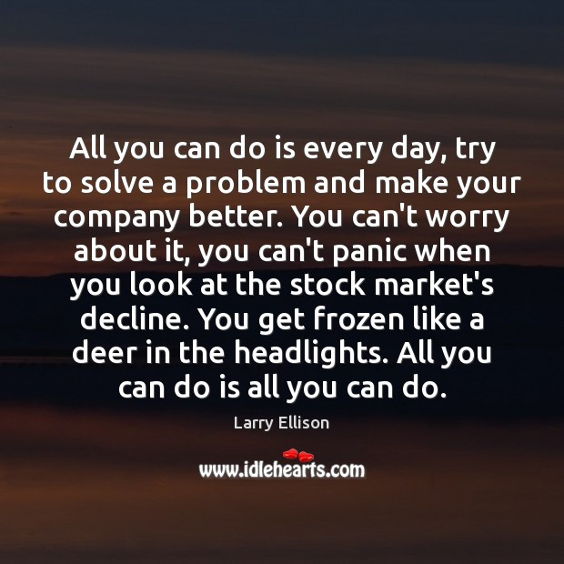 All you can do is every day, try to solve a problem Larry Ellison Picture Quote