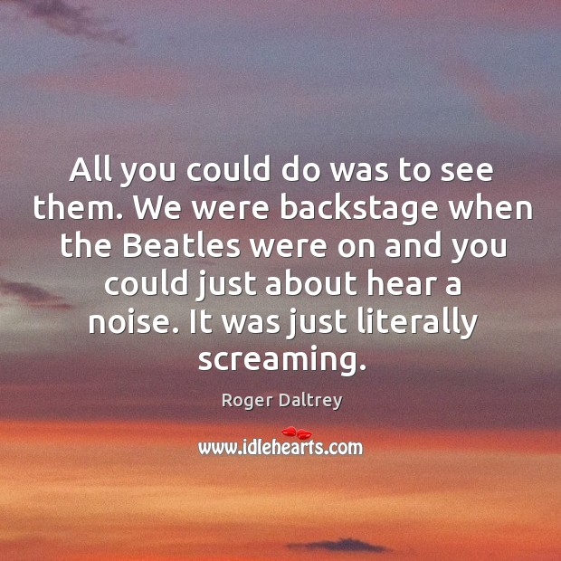 All you could do was to see them. We were backstage when the beatles were on Roger Daltrey Picture Quote