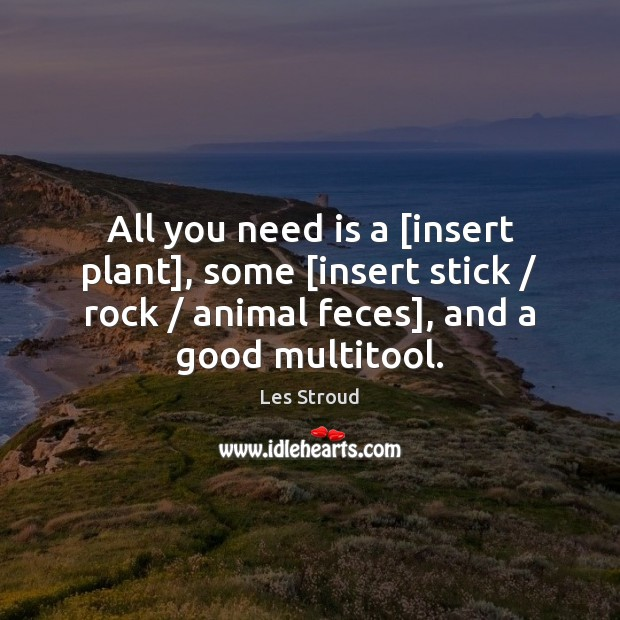 All you need is a [insert plant], some [insert stick / rock / animal Image