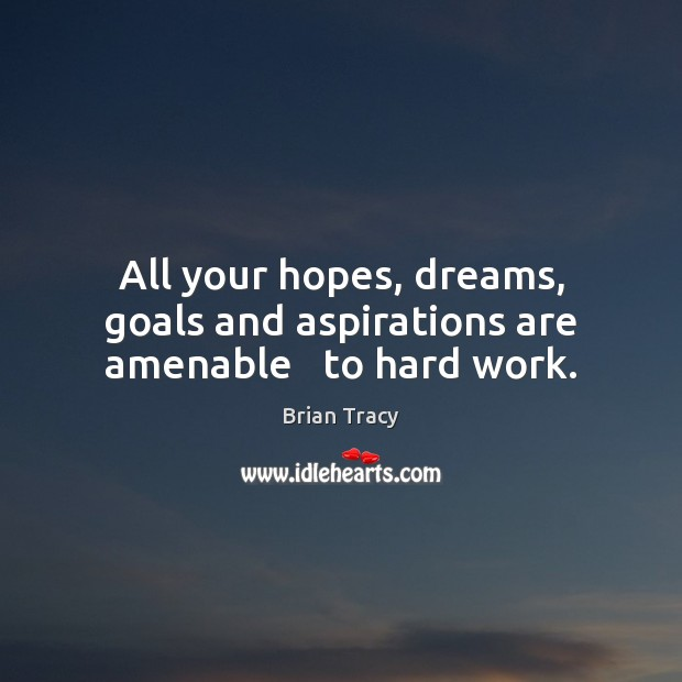 Image, All your hopes, dreams, goals and aspirations are amenable   to hard work.