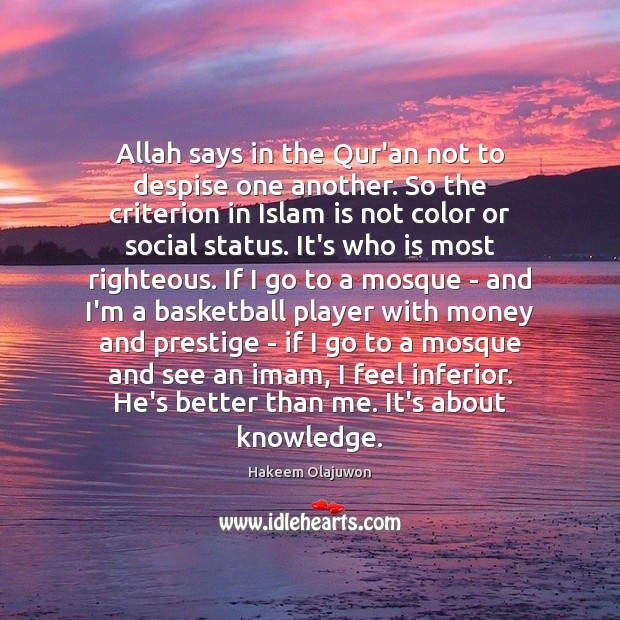 Image, Allah says in the Qur'an not to despise one another. So the
