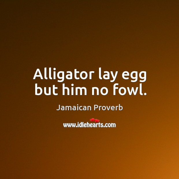 Alligator lay egg but him no fowl. Jamaican Proverbs Image