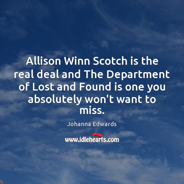 Image, Allison Winn Scotch is the real deal and The Department of Lost