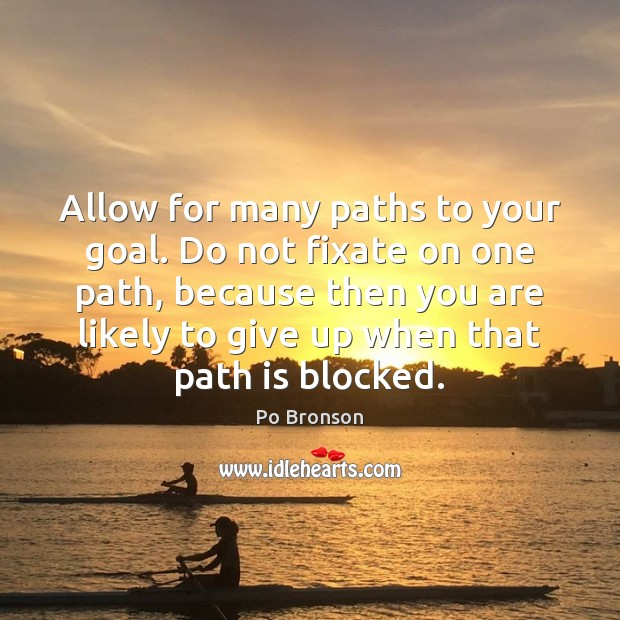 Allow for many paths to your goal. Do not fixate on one Po Bronson Picture Quote