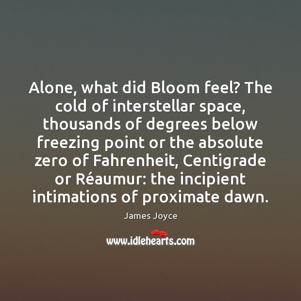 Alone, what did Bloom feel? The cold of interstellar space, thousands of Image