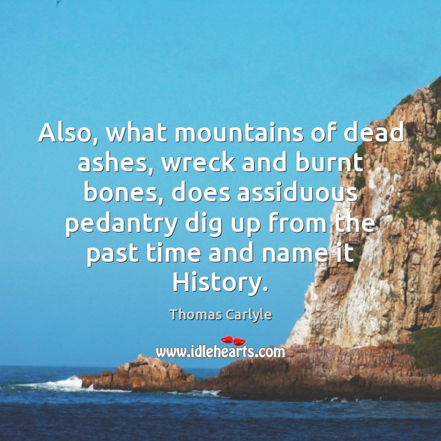 Also, what mountains of dead ashes, wreck and burnt bones, does assiduous Thomas Carlyle Picture Quote