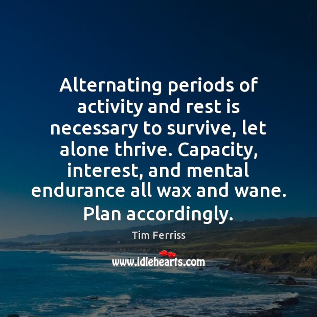 Alternating periods of activity and rest is necessary to survive, let alone Tim Ferriss Picture Quote
