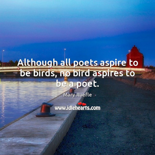 Although all poets aspire to be birds, no bird aspires to be a poet. Mary Ruefle Picture Quote