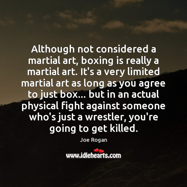 Although not considered a martial art, boxing is really a martial art. Joe Rogan Picture Quote