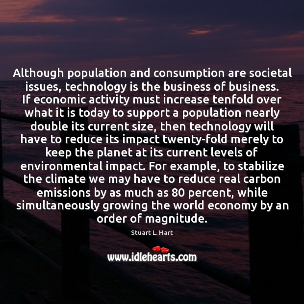 Although population and consumption are societal issues, technology is the business of Technology Quotes Image