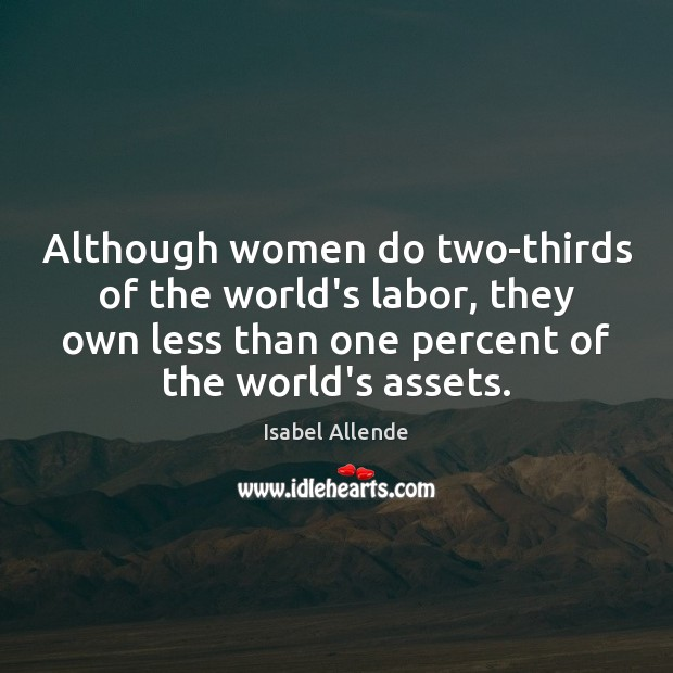 Although women do two-thirds of the world's labor, they own less than Image