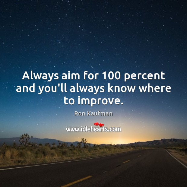 Always aim for 100 percent and you'll always know where to improve. Ron Kaufman Picture Quote