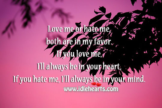 Love me or hate me, both are in my favor. Image